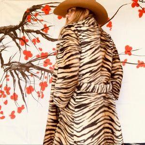 Vintage faux tiger fur coat. Crazy cool. L